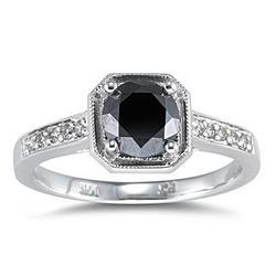 Black Diamond Ring in 14K White Gold