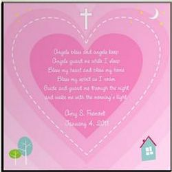 Personalized Bedtime Blessing Art Panel in Pink