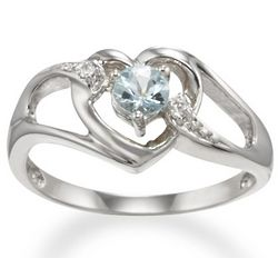 Aquamarine Heart Promise Ring in 14k White Gold