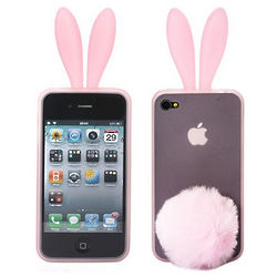 Lovely Rabbit Silicone Back Case Cover for iPhone 4