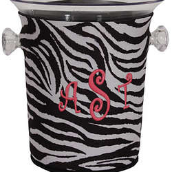 Personalized Ice Bucket in Zebra Print