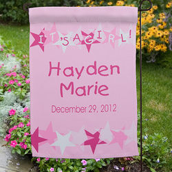 Personalized New Baby Announcement Garden Flag