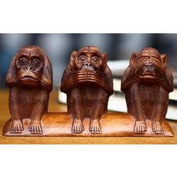 3 Wise Monkeys Wood Statuette