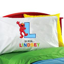 Personalized Elmo Initial Pillowcase