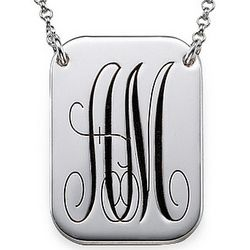 Monogrammed Script Font Dog Tag Necklace in Sterling Silver