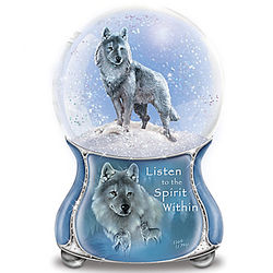 Silver Scout Spirit Within Wolf Musical Glitter Globe