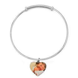 Custom Photo Heart Diamond Cut Silver Bangle
