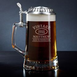 Aged to Perfection Personalized Beer Stein with Pewter Lid