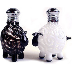 Glass Sheep Salt and Pepper Shakers