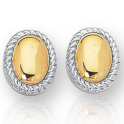 14k Two Tone Gold Elegant Smooth Oval Button Earrings