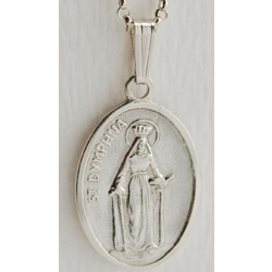 Sterling Silver St. Dymphna Medal with Chain
