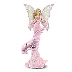 Hope Takes Flight Breast Cancer Support Fairy Figurine