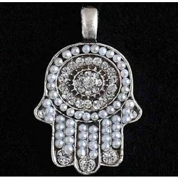 Decorative White Hamsa Pendant