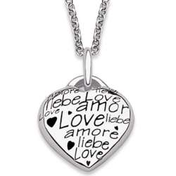 Sterling Silver Words of Love Heart Pendant