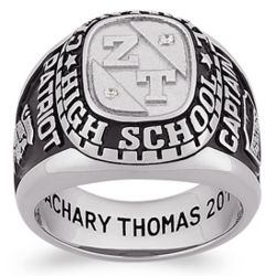 Men's Sterling Silver Cubic Zirconia and Initials Class Ring