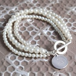 Triple Strand Pearl Bracelet with Personalized Charm