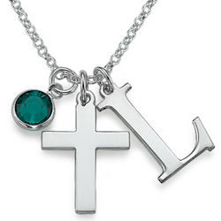 Silver Cross Necklace with Initial and Gemstone