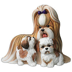 Shih Tzus Kisses Mother and Puppies Masterpiece Sculpture