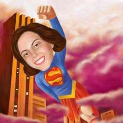 Your Photo in a Superwoman Caricature