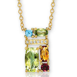 14k Yellow Gold Oval Round Multi Gem Diamond Necklace