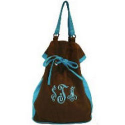Monogrammed Canvas Drawstring Tote