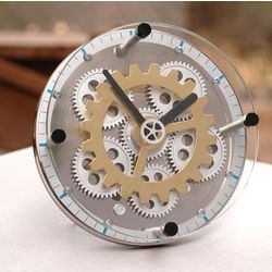 Gear Up Clock with Glass Front