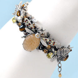 The Birds and The Bees Triple Strand Pewter Bracelet