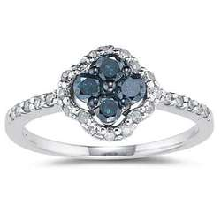 Blue and White Diamond Flower Ring 10k White Gold