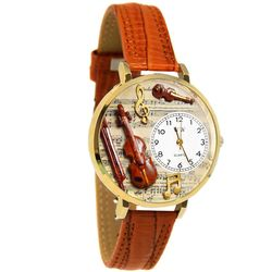 Violin Whimsical Watch in Large Gold Case