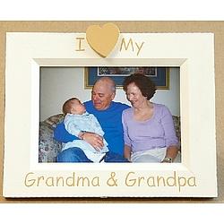I Heart Grandma & Grandpa Hand Painted Picture Frame