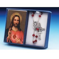 Sacred Heart of Jesus Laminate Prayer Card and Rosary