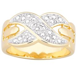 18K Gold over Sterling Diamond Accent X Ring