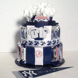 Yankees Baseball Candy Bar Cake