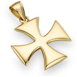 14k Yellow Gold Holy Warrior Cross Pendant