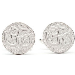 OM Symbol Sterling Silver Cufflinks