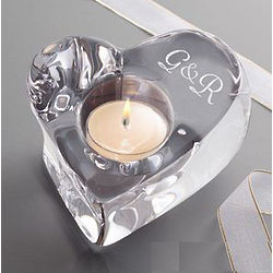 Personalized Couple's Crystal Heart Votive Candle Holder