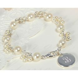 Personalized Pearl Cluster Charm Bracelet