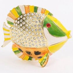 Bejeweled Blowfish Trinket Box with 24K Gold Detail