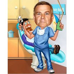 Dentist Personalized Caricature Art Print