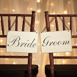 Bride or Groom Scripted Wooden Sign