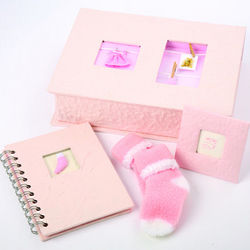 Pink Album and Booties Baby Gift Box