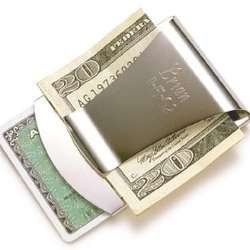 Personalized Silver Money Clip and Credit Card Holder