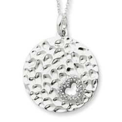 I Wish You Enough Love Sterling Silver Disc Pendant with CZ Heart