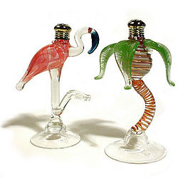 Glass Flamingo & Palm Salt and Pepper Set