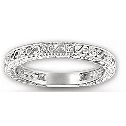 14k White Gold Elegant Milgrain Diamond Eternity Ring
