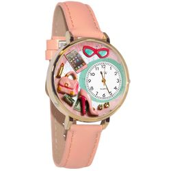 Shopper Mom Whimsical Watch in Large Gold Case