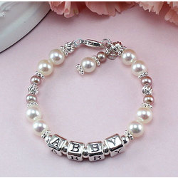 Personalized Birthstone Pearl Gemstone Bracelet
