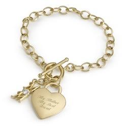 14k Gold over Sterling Heart Mom Bracelet