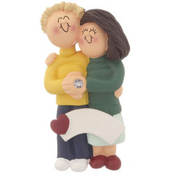 Engaged Couple Christmas Ornament