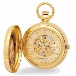 Gold Tone Picture Frame Mechanical Pocket Watch